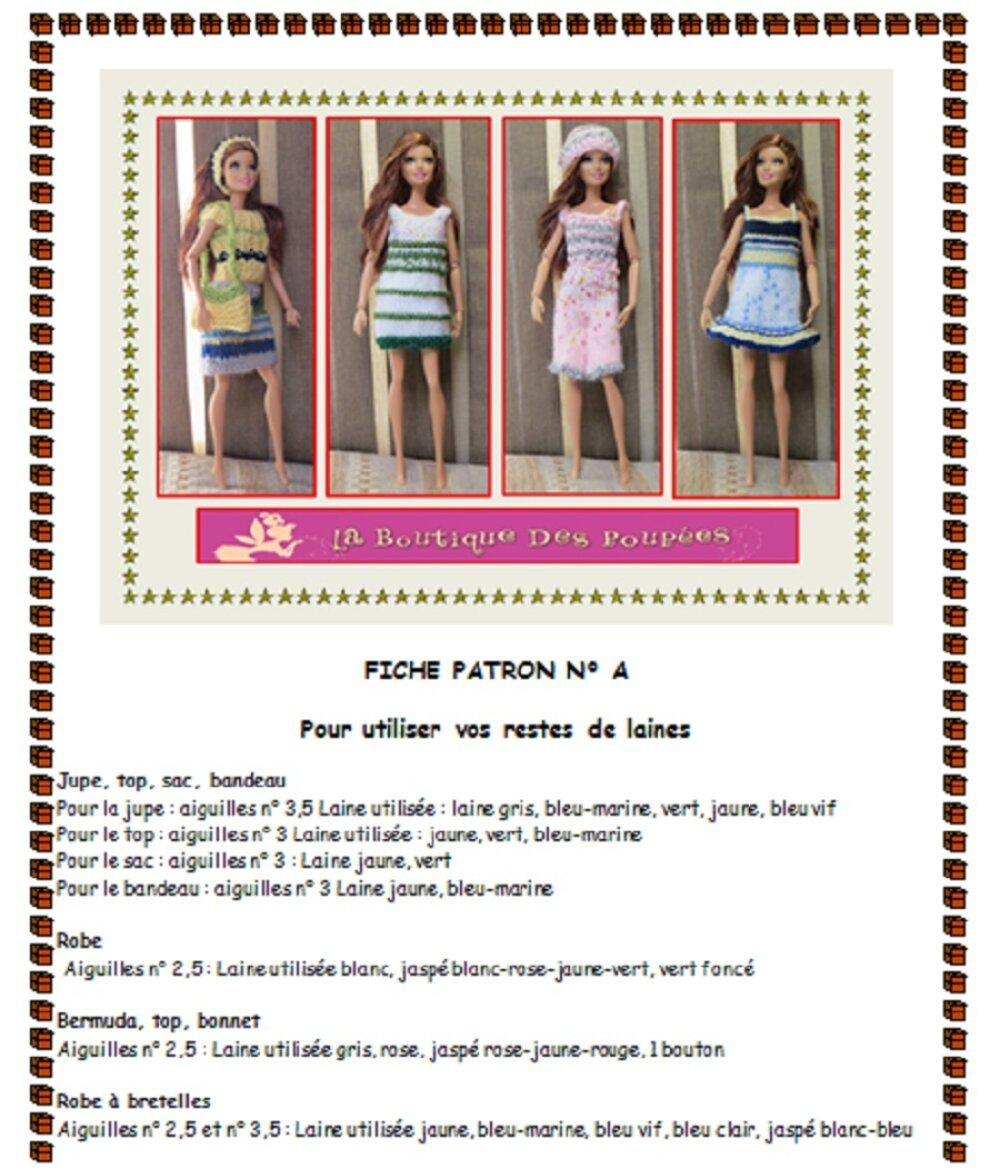 Fiche patron N° BB1 : 4 vêtements tricot poupée Barbie