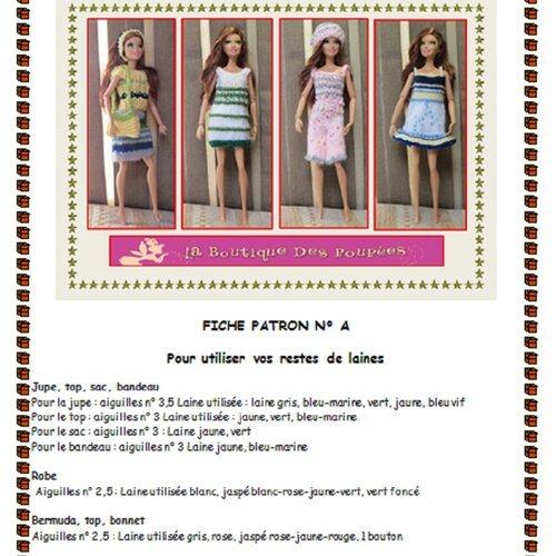 Fiche Patron N Bb1 4 Vêtements Tricot Poupée Barbie Un