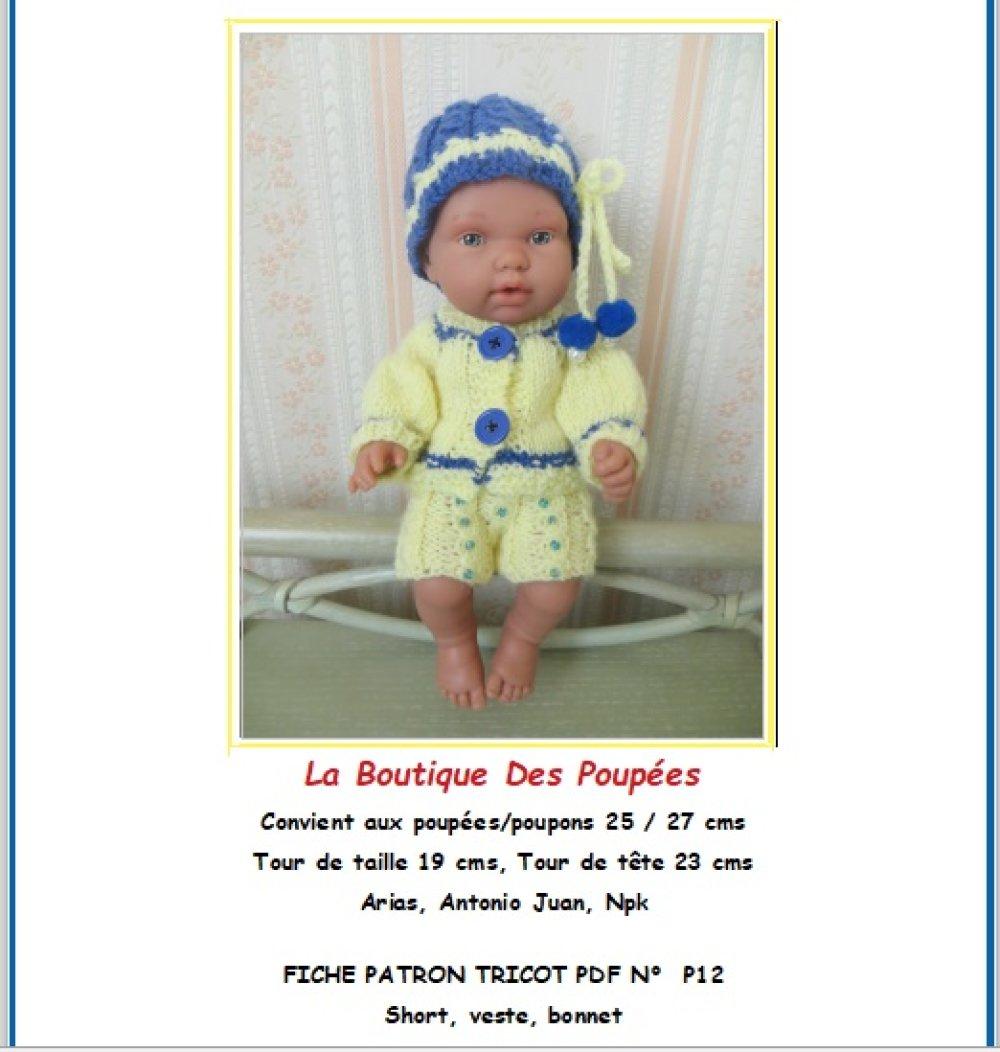 Fiche patron PDF N° P12 vêtements tricot  Poupée Poupons 25 cms Arias, Npk, Antonio juan