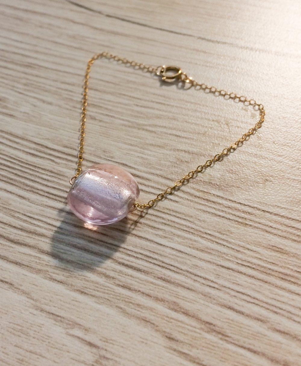 Bracelet Perle en verre feuille d'argent