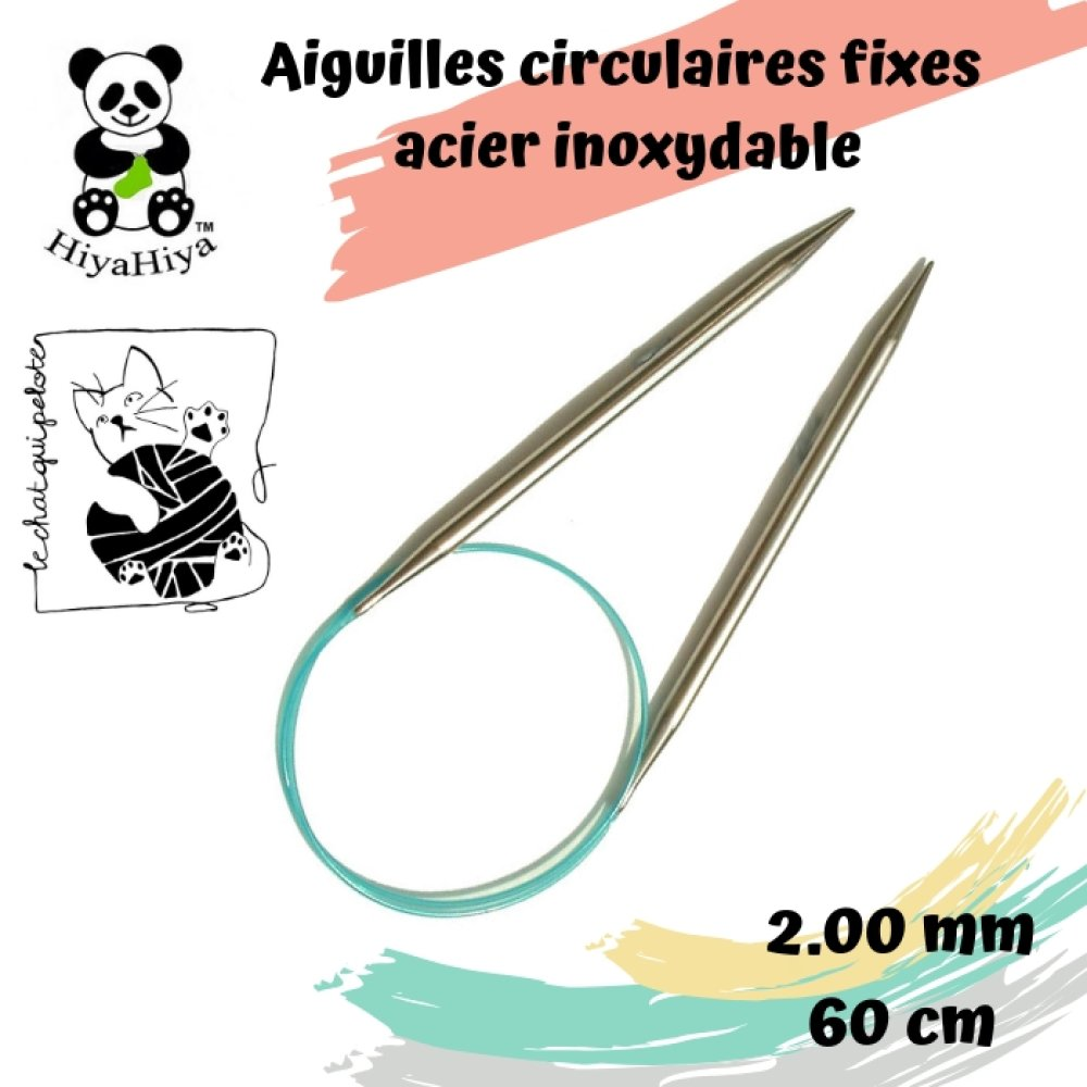 aiguille à tricoter circulaire fixe en acier inoxydable HiyaHiya 2 mm - 60 cm