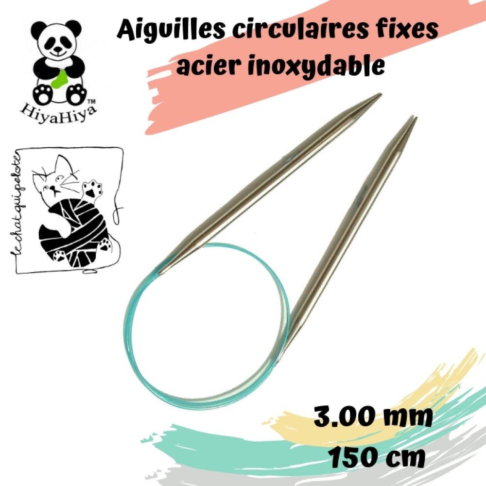 aiguille à tricoter circulaire fixe en acier inoxydable HiyaHiya 3 mm - 150 cm