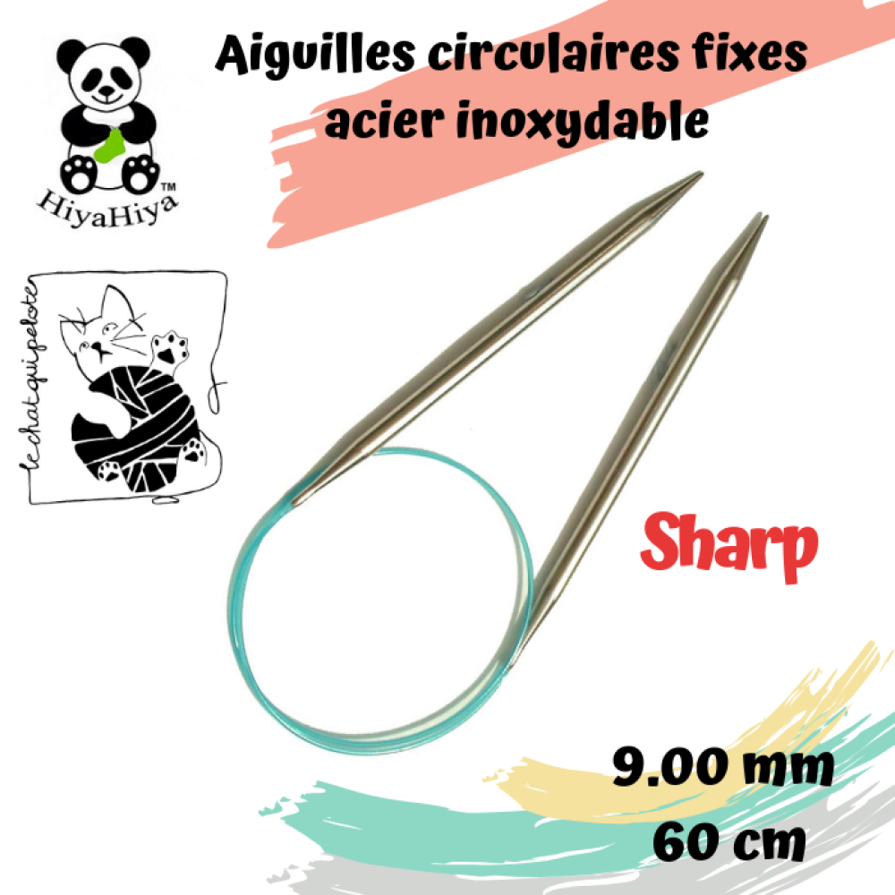 aiguille à tricoter circulaire fixe en acier inoxydable Sharp HiyaHiya 9 mm - 60 cm