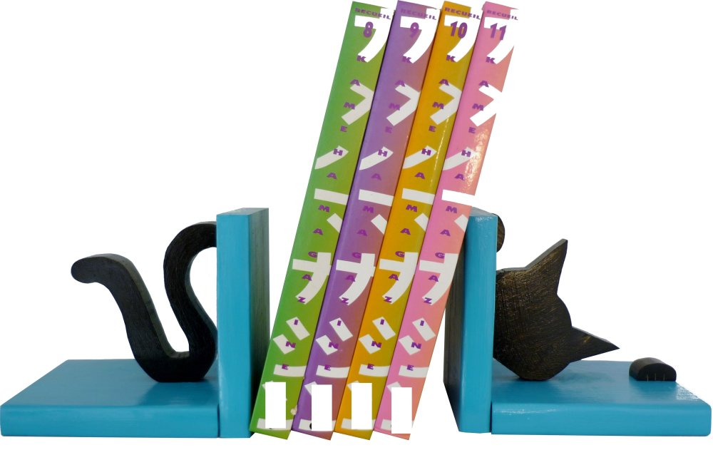 Serre-livres bois massif  « Chat espiègle »