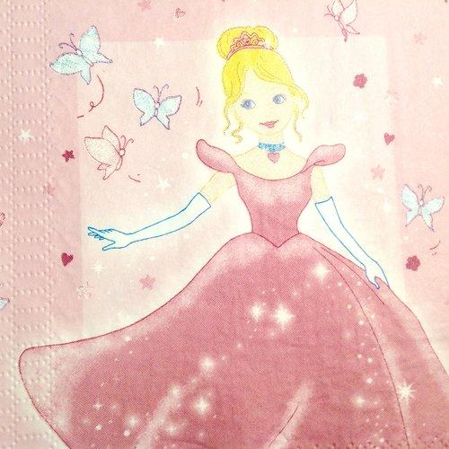 Serviette en papier - princesse en robe de bal