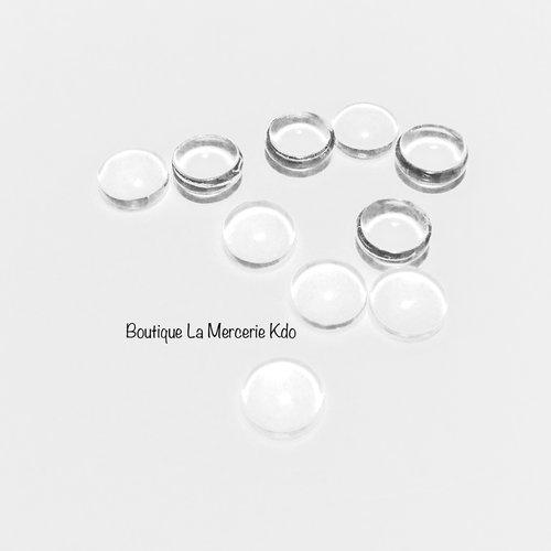 Lot de 10 cabochons rond - verre - 7 mm