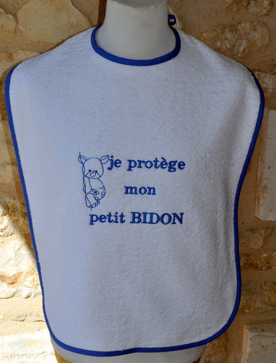 BAVOIR ADULTE TISSUS EPONGE BLANC LE PETIT BIDON AVEC PRENOM