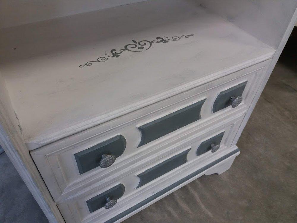 Table de chevet, meuble d'appoint blanc/gris rétro chic