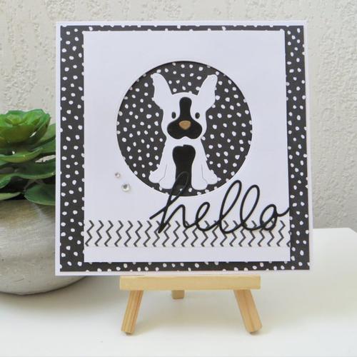 Carte 3d moderne bouledogue noir et blanc : petit bouledogue hello en noir et blanc