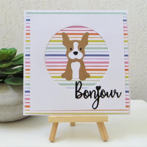 """Carte 3d moderne bouledogue marron et blanc : petit bouledogue """"bonjour"""" en marron et blanc"""