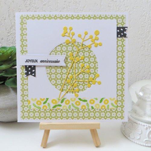 Carte anniversaire 3d : mimosa en vert et jaune 02