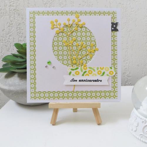 Carte anniversaire 3d : mimosa en vert et jaune 01