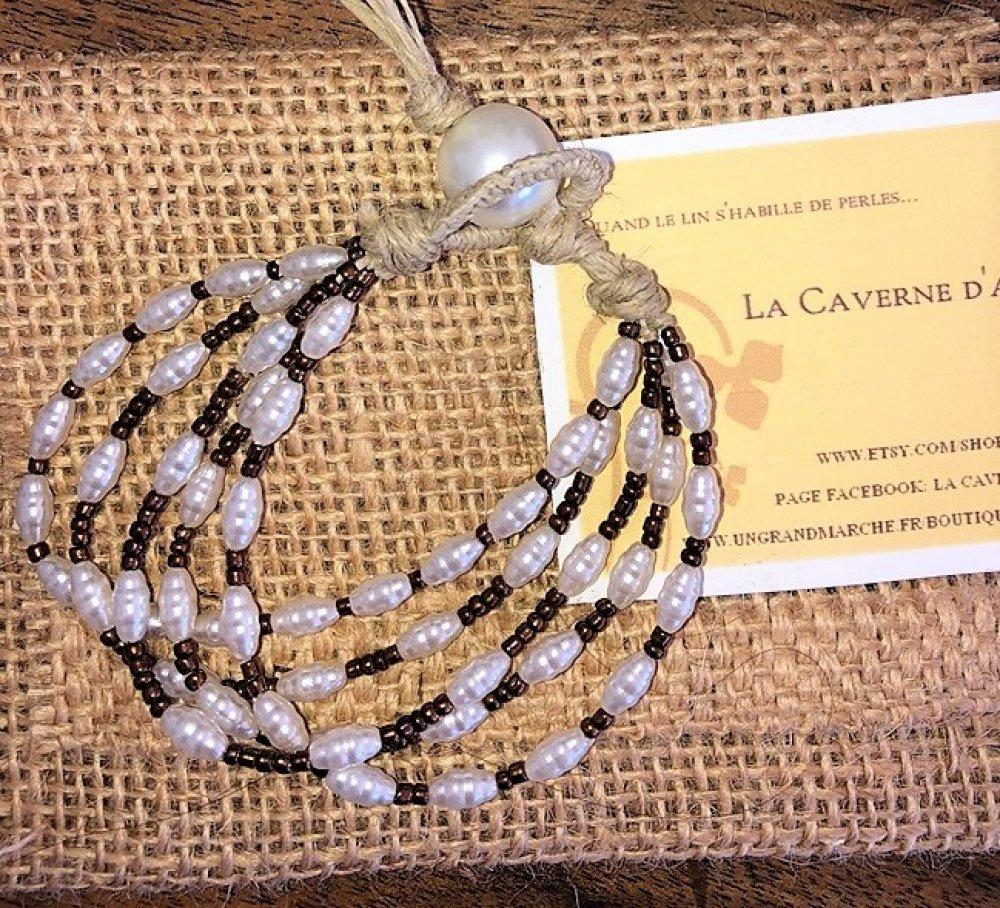 Bracelet  en lin et  5 rangées de rocailles bronze et petites perles nacrées