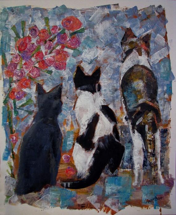 Trois chats regardant l'horizon- Acrylique sur papier toilé