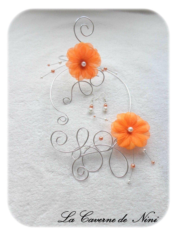 Parure Mariage Soirée orange et argent