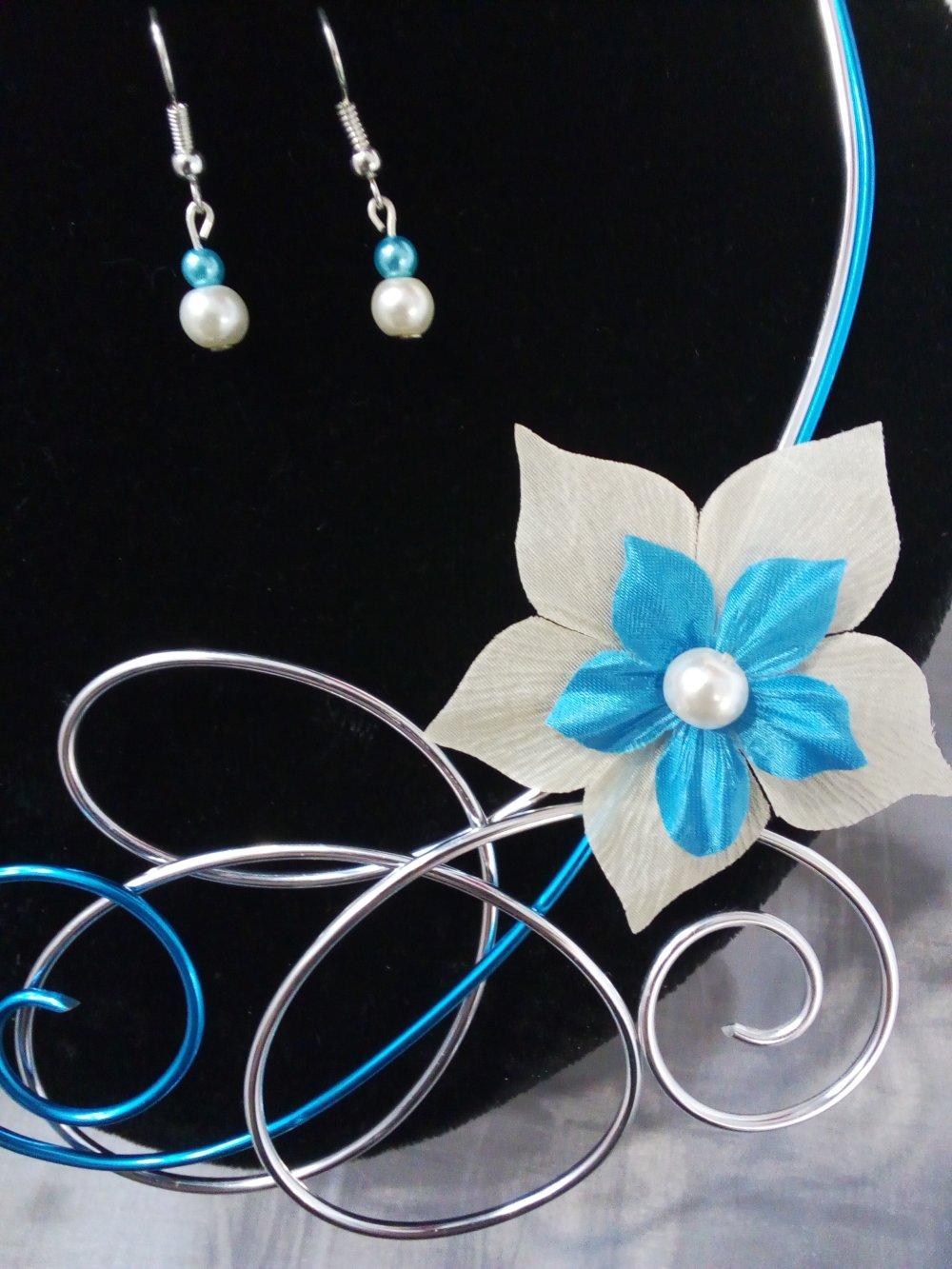 parure mariage et soirée avec fleur de soie ivoire et turquoise