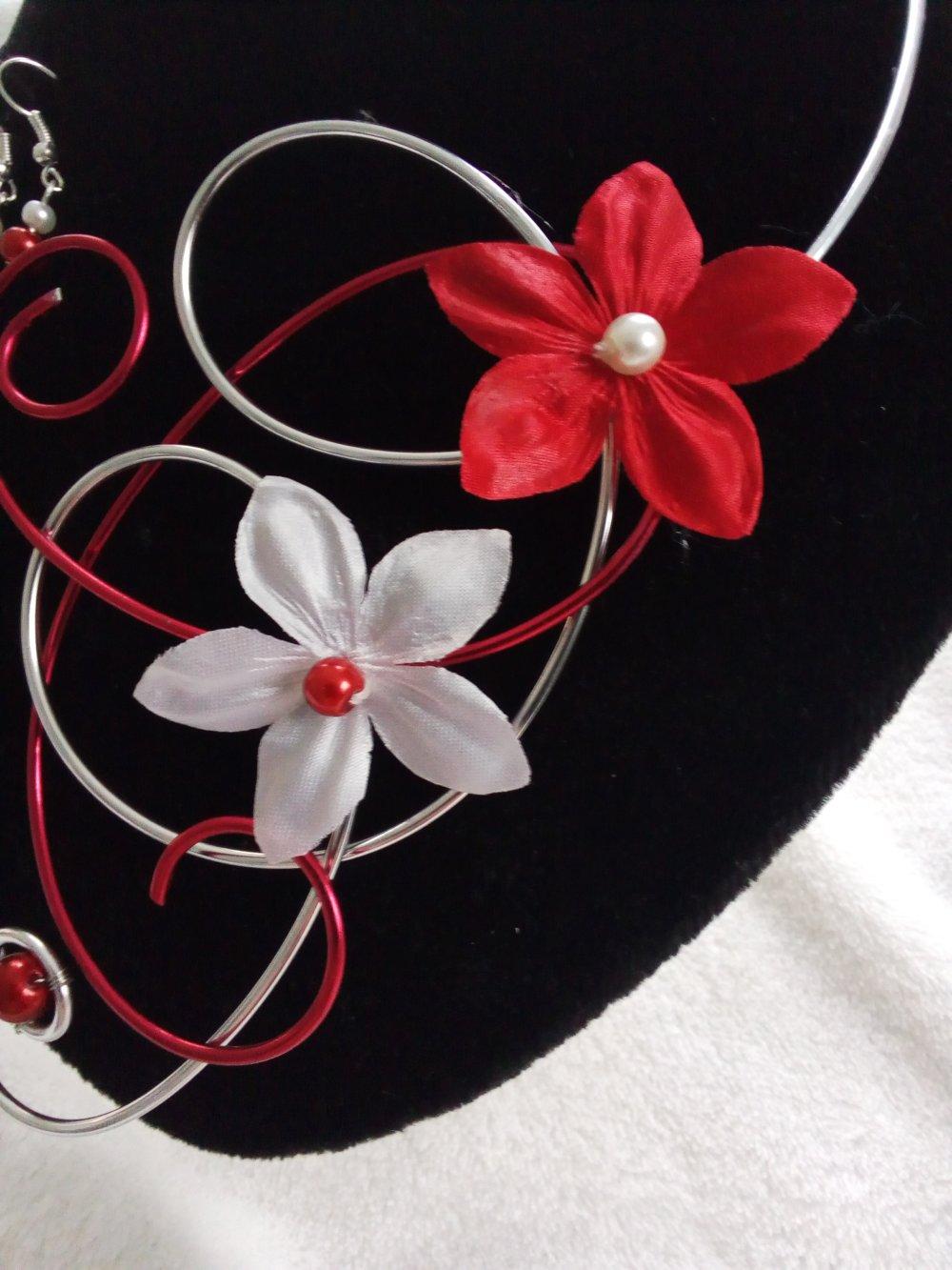 parure mariage et soirée collier + Boucles d'oreilles rouge et blanc