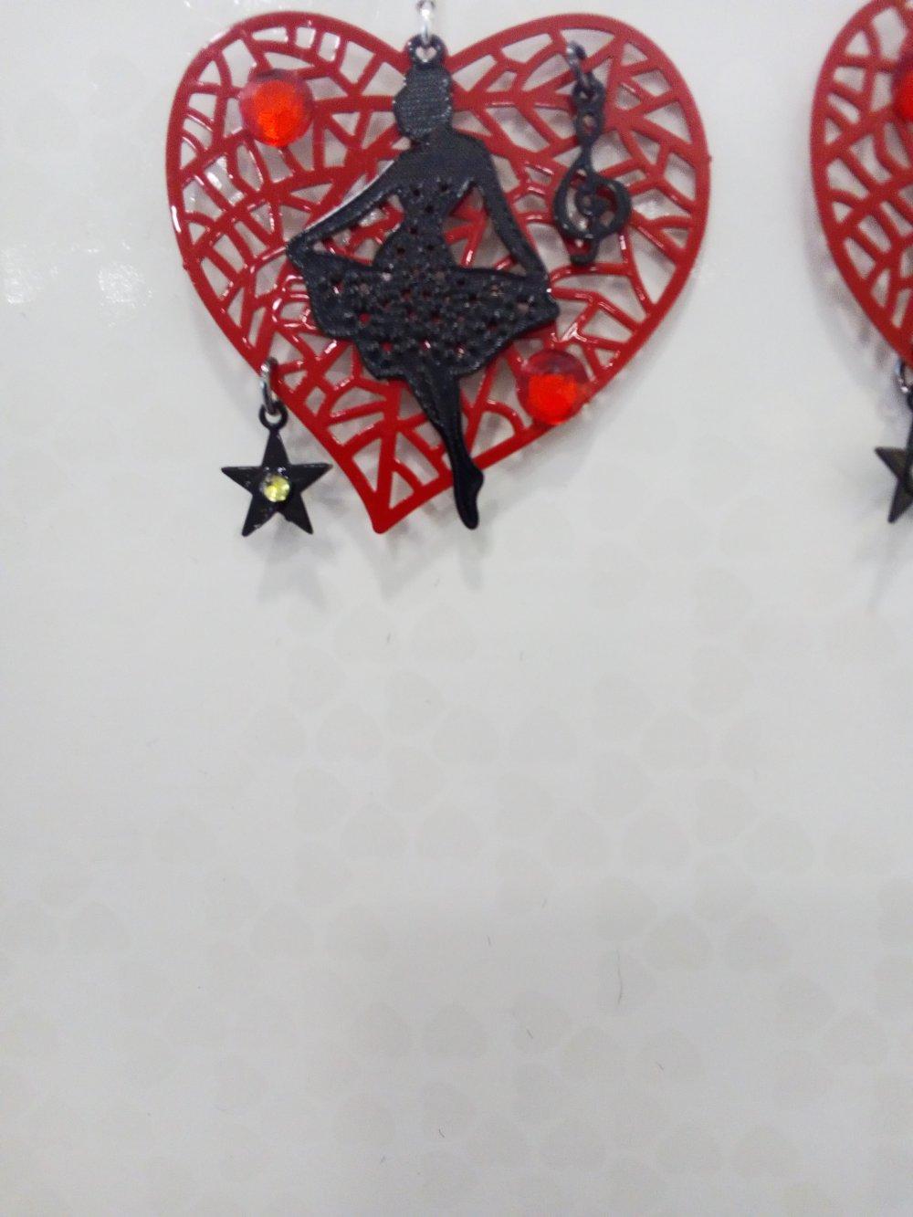 Boucles d'oreilles danseuse pendantes noir et rouge