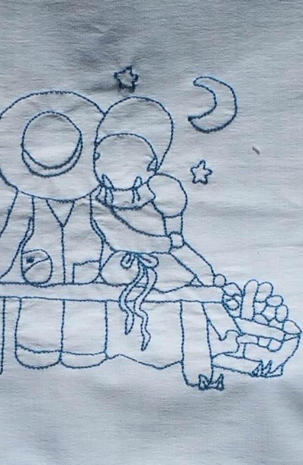 Housse pour coussin vichy bleu avec Sunbonnet