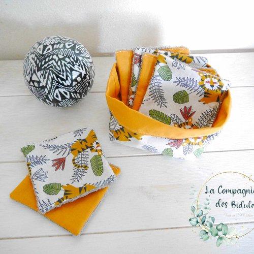 Idée cadeau sympa, original et pratique, un set corbeille et lingette, motif jungle