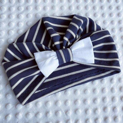 Turban bonnet bébé hiver marinière