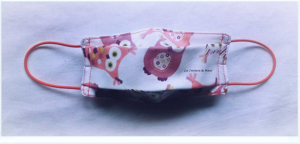 Masque de protection ENFANT 3/9 ANS imprimé HIBOUX