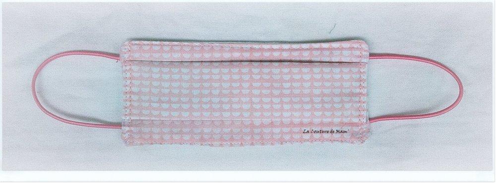 Masque de protection ENFANT 3/9 ANS rose et petits motifs blancs