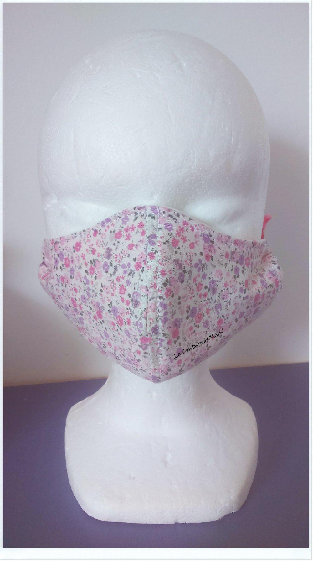 Masque de protection IMPRIME PETITES FLEURS - Taille 3/6 ANS