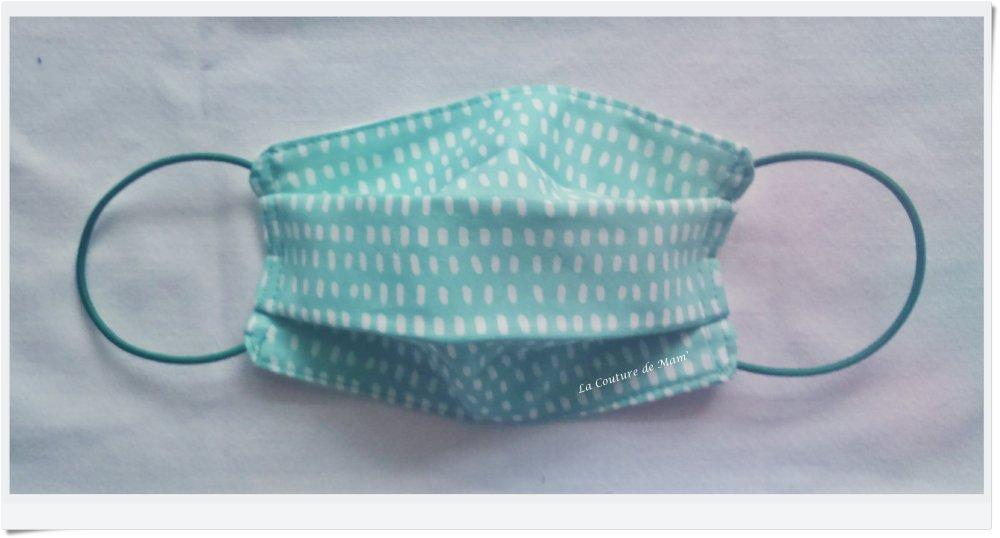 Masque de protection ENFANT 3/9 ANS vert d'eau & traits blancs