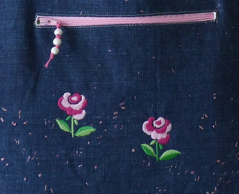 tote bag jean pailleté rose, simili cuir rose, port a l'épaule