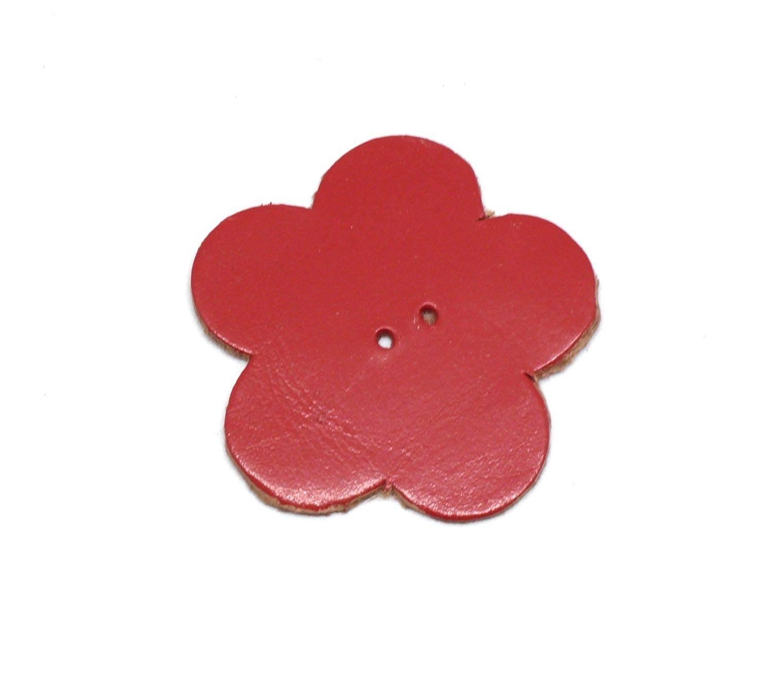 10 fleurs en simili cuir de couleur rouge 4cm
