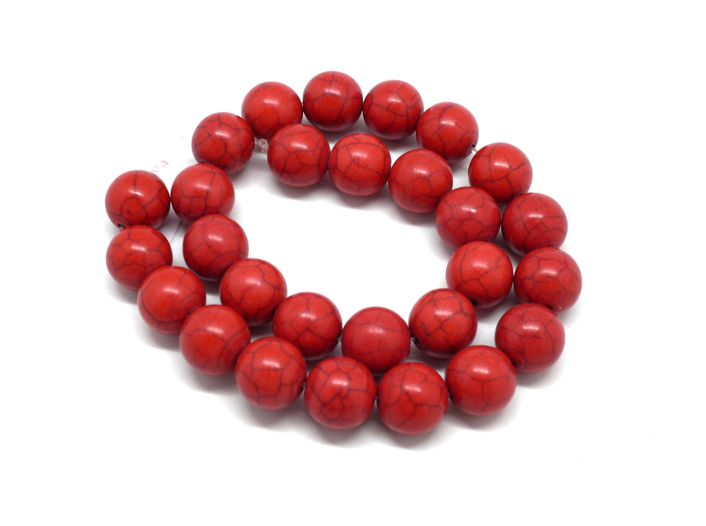 """27 perles ronde 14mm imitation turquoise """"style Howlite"""" rouge"""