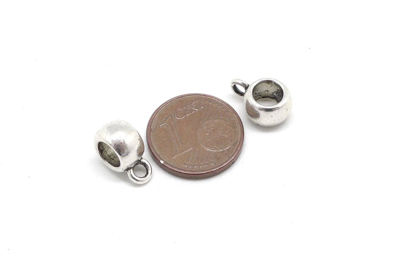 15 Perles support breloque, belière en métal argenté lisse pour cordon de 5mm