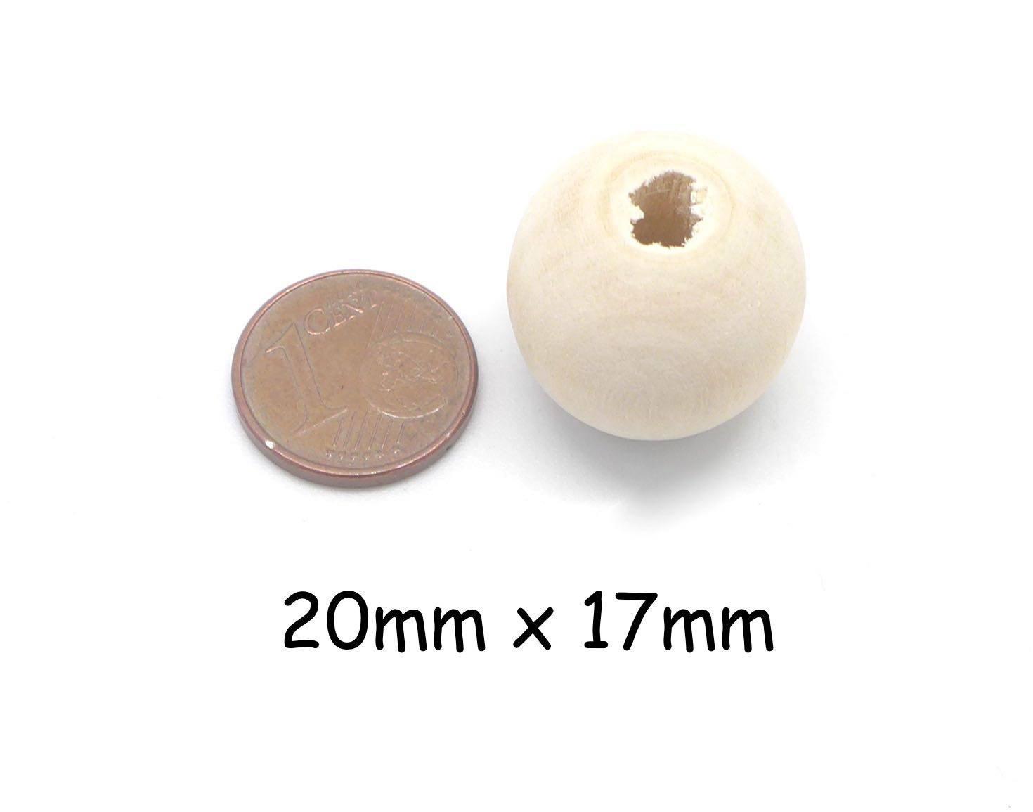 10 perles en bois naturel ronde 20mm