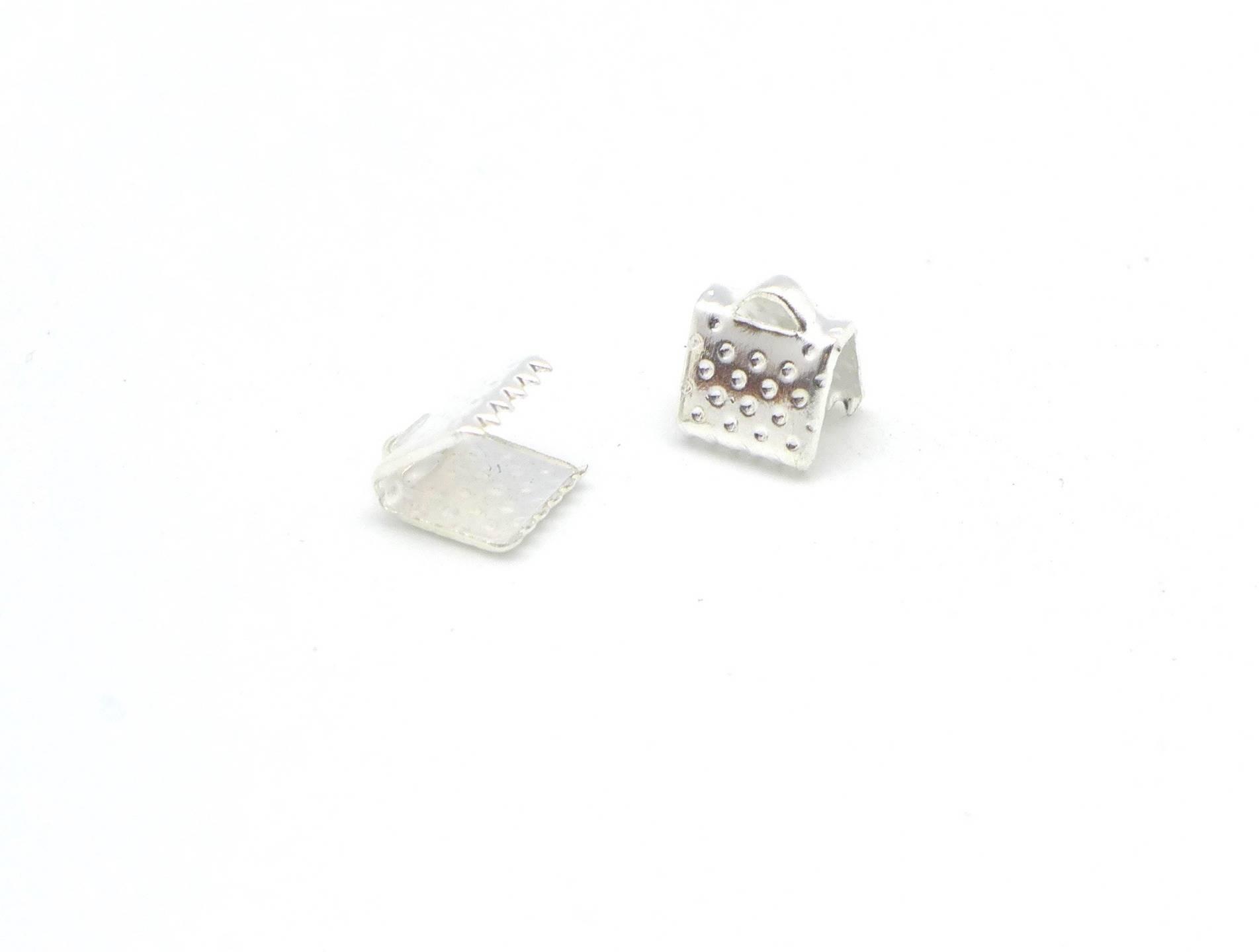 20 Embouts griffe serre ruban, pour lanière de 6mm en métal argenté brillant blanc