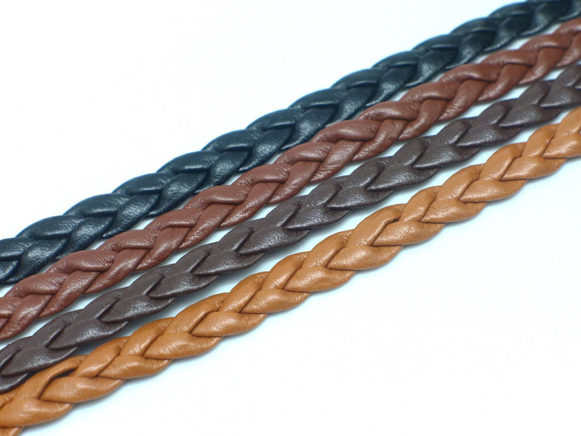 Lot de 4 fois 70cm lanière tressé 8mm simili cuir,  cuir synthétique de couleur noir, marron, camel et marron