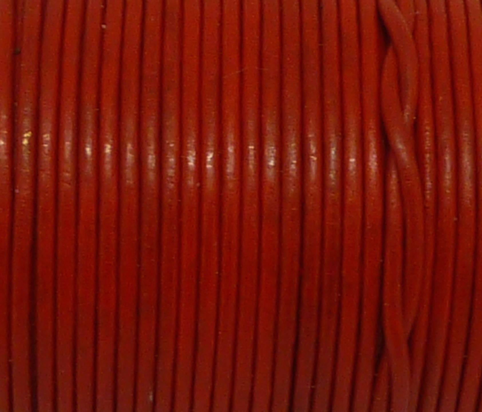 2m Cordon cuir rond 1,5mm de couleur rouge vif