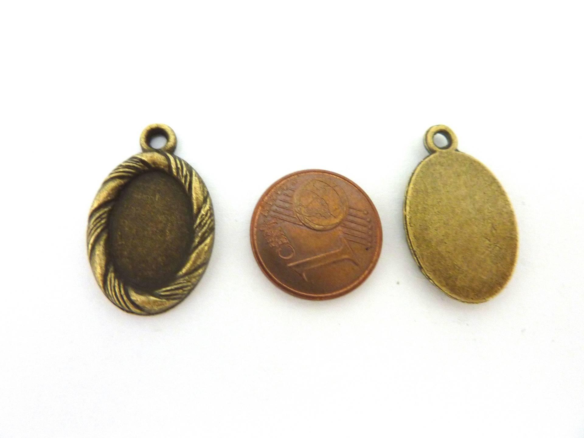 4 Supports cabochon ovale strié pour cabochon de 10 X 14mm en métal de couleur bronze