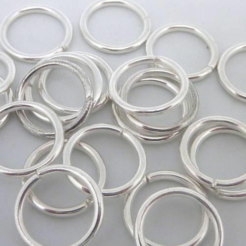 10 anneaux de jonction 12mm épais fort en métal argenté brillant