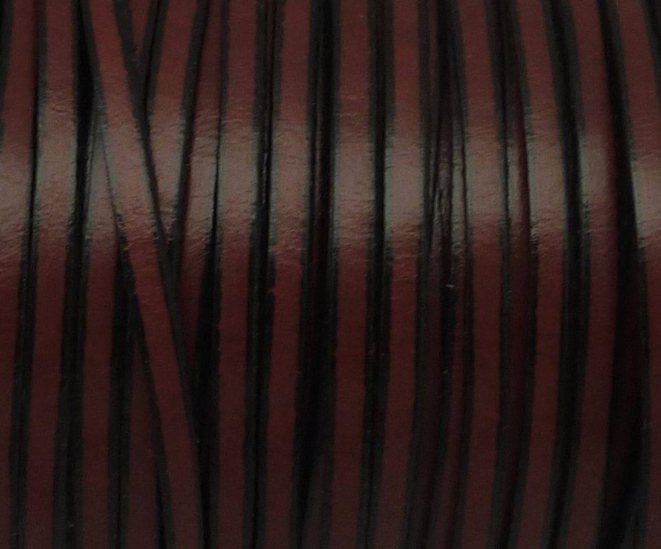 1m de lanière cuir plat 3mm bicolore grenat / noir - CUIR VERITABLE