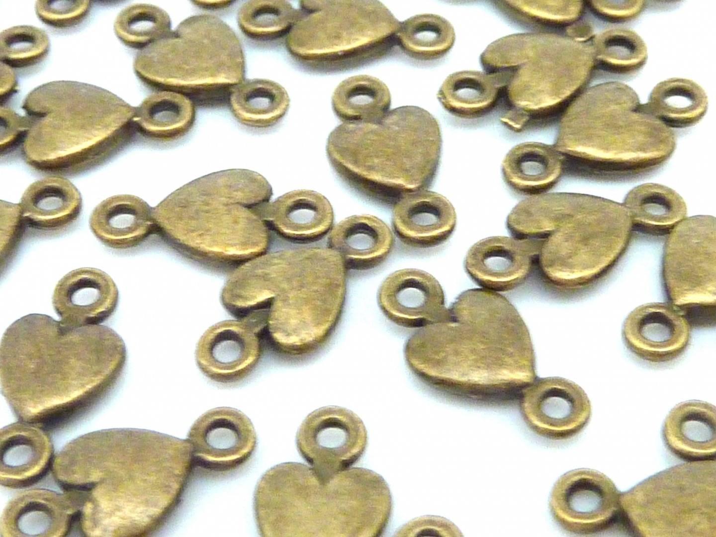 10 Perles connecteur petit coeur 11mm en métal de couleur bronze