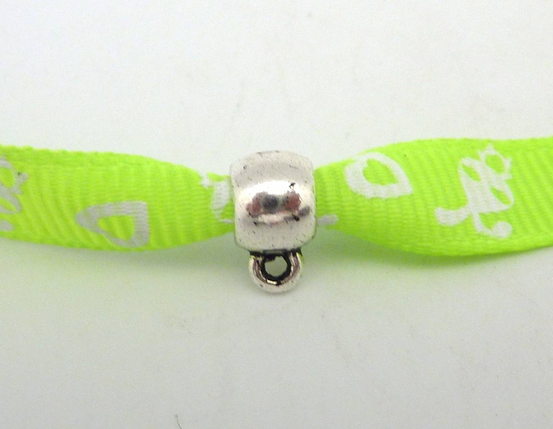 10 Perles support breloque 8,9mm, bélière pour cordon de 3mm 3,5mm en métal argenté lisse