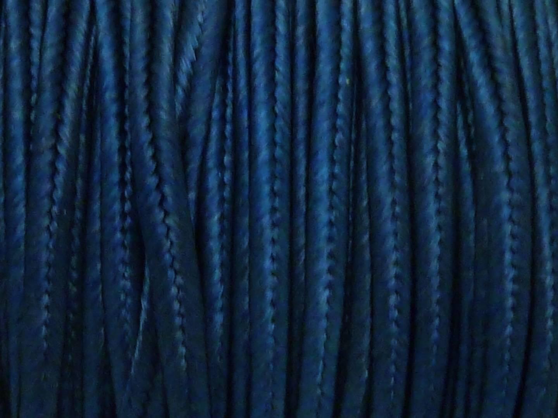 4,50m Fil, cordon, ruban Soutache, plat 3mm bleu marine brillant