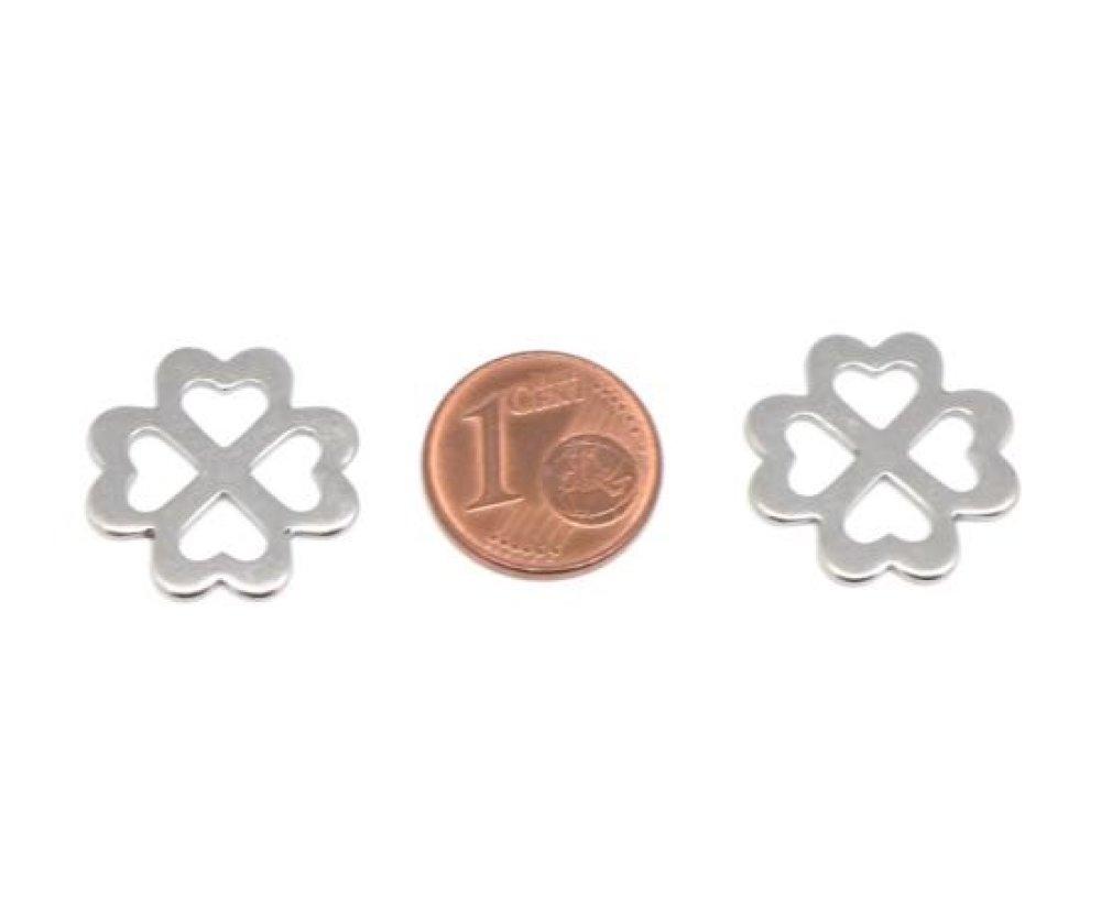 2 Perles connecteur trèfle à 4 feuilles forme coeur en acier inoxydable argenté