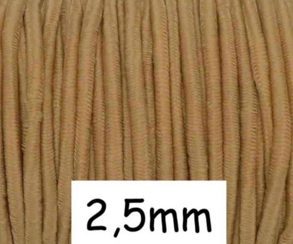 4m élastique rond 2,5mm marron camel clair