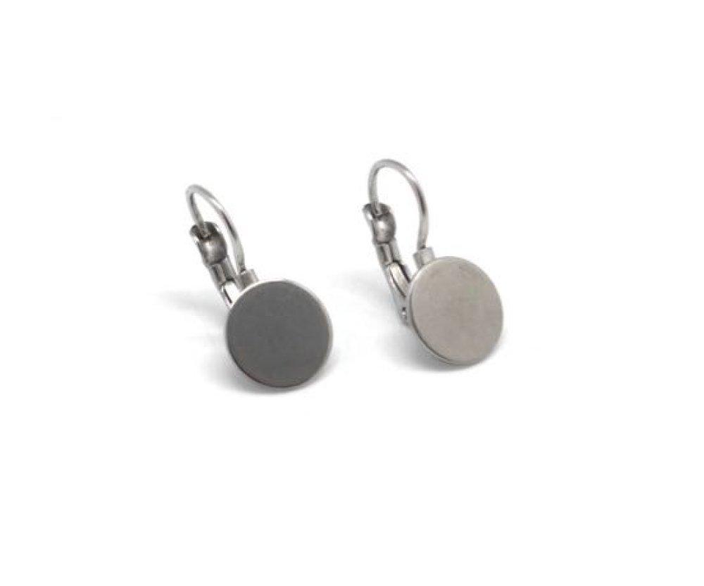 4 Supports boucles d'oreilles crochet avec plateau de 10mm en acier inoxydable argenté - 2 paires