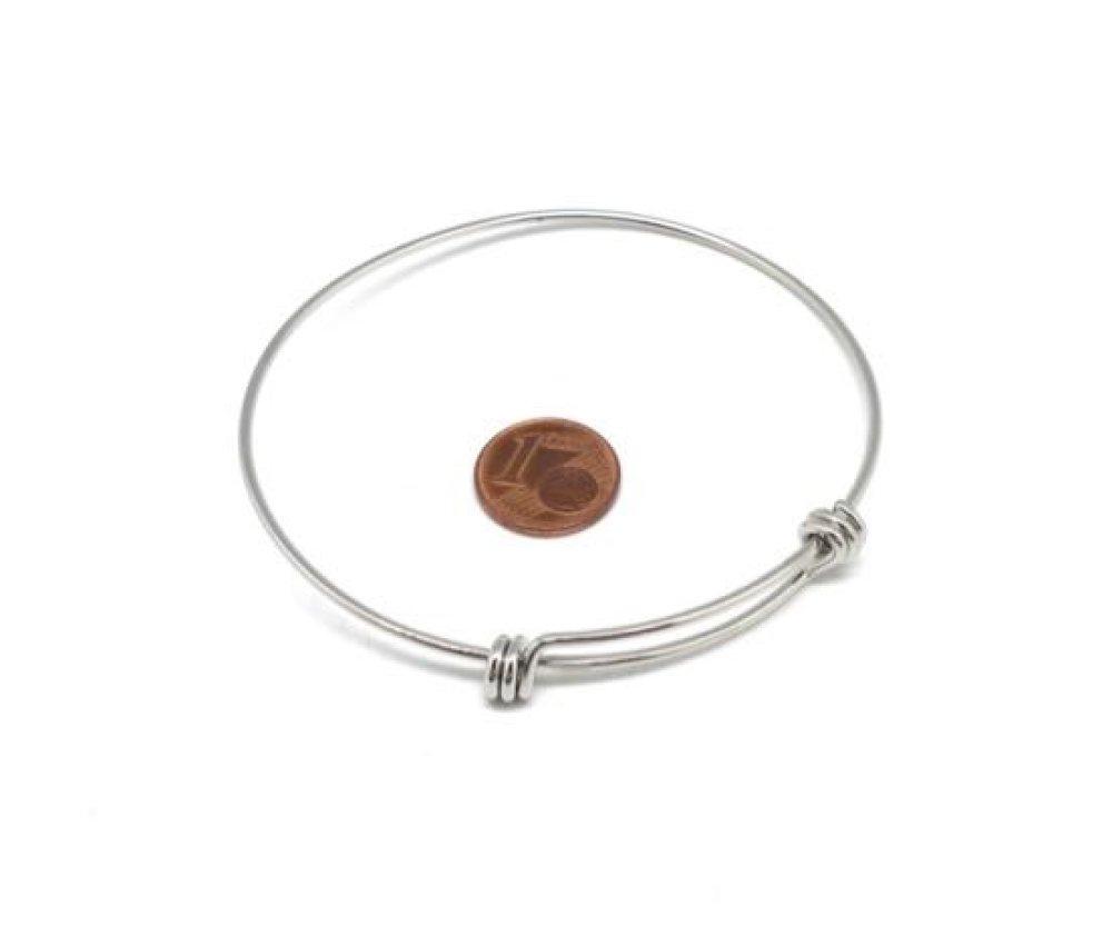 1 Jonc bracelet argenté en acier inoxydable à agrémenter, bangle 70mm