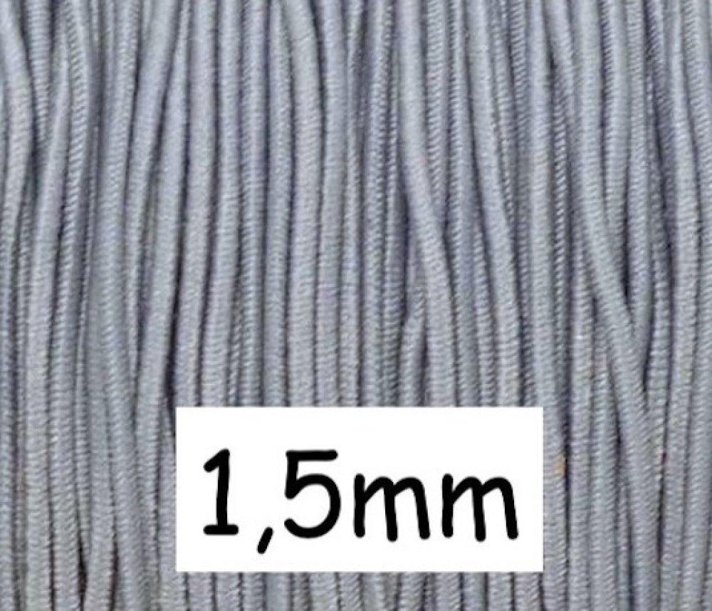 4m élastique gris perle 1,5mm - Idéal création DIY, couture