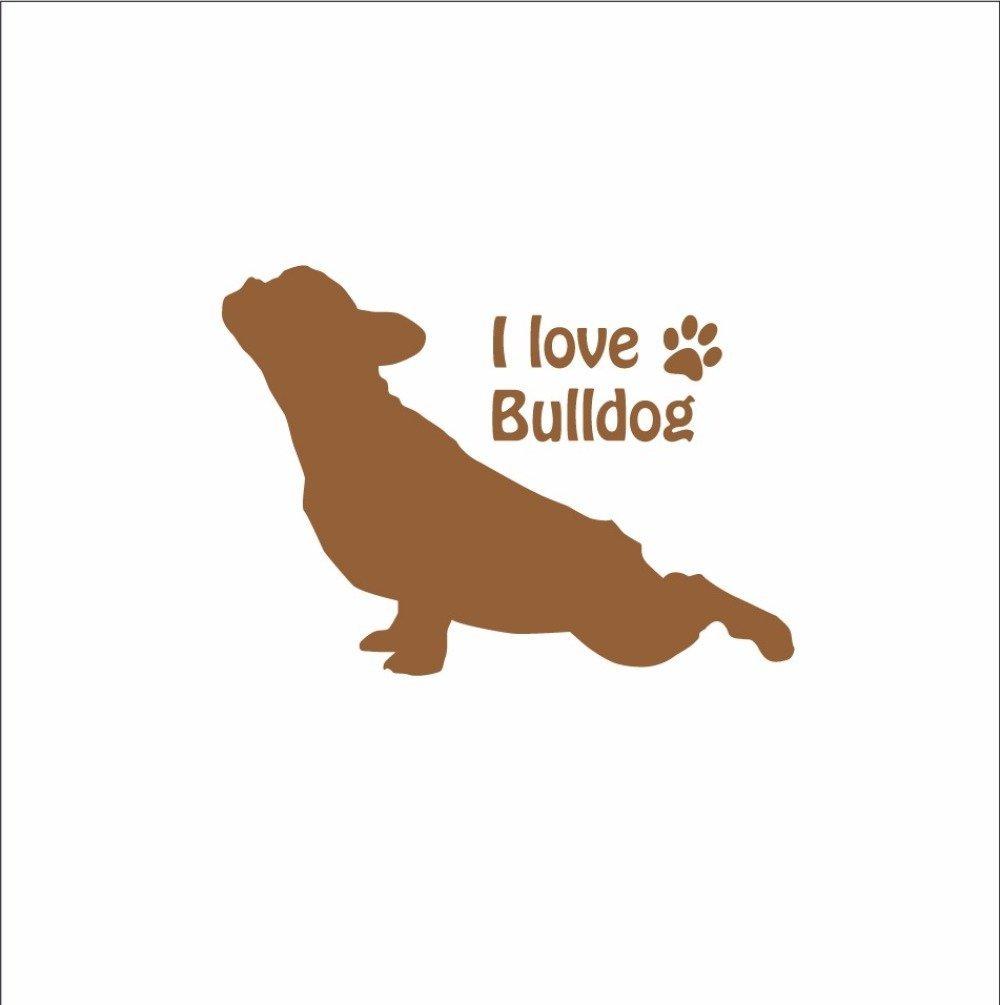 Stickers bouledogue: silhouette chien bouledogue français en vinyl autocollant pour déco voiture, tablette, personnalisable
