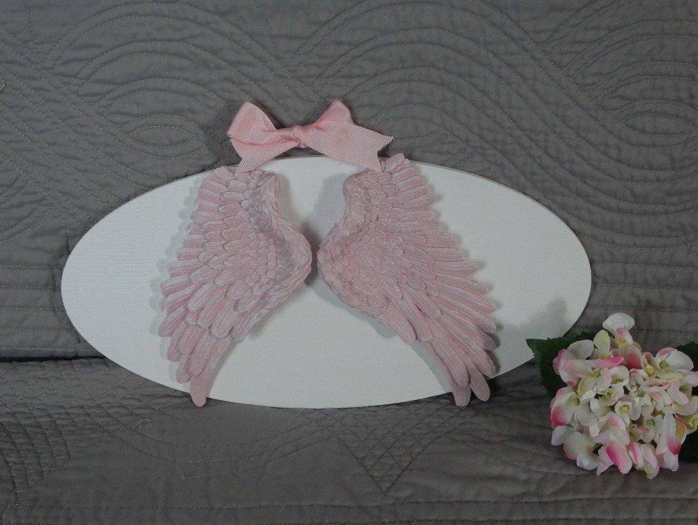 """Cadre ovale """"ailes"""" rose poudré"""